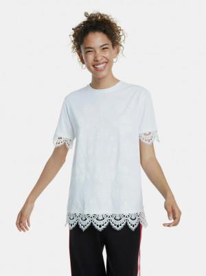 Bílé vzorované tričko s krajkou Desigual
