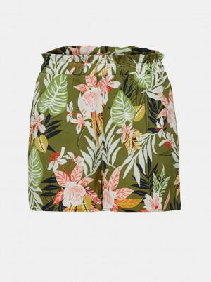 Khaki květované kraťasy ONLY Lizbeth