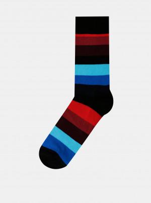 Červeno-černo-modré unisex pruhované ponožky Happy Socks Stripe - 36-40