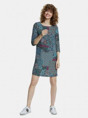 Modré vzorované šaty Desigual -