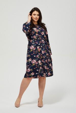 Moodo květinové šaty s vázáním v pase -
