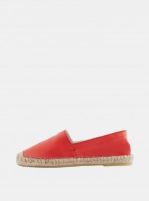 Červené kožené espadrilky Pieces Katie -