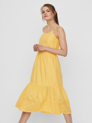 Žluté midišaty s madeirou VERO MODA Halo