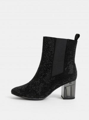 Tamaris černé kotníkové boty na podpatku -