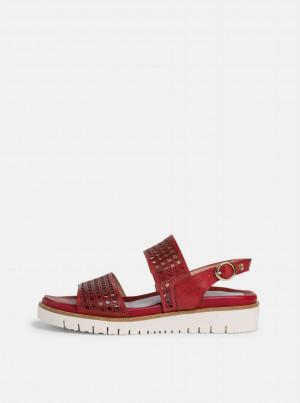 Tamaris červené kožené sandály -