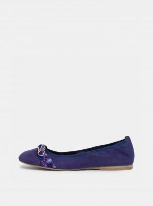 Tamaris modré semišové baleríny -