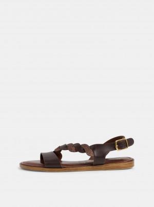 Tamaris hnědé kožené sandály -
