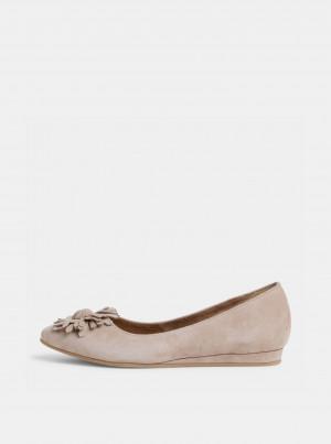 Tamaris béžové semišové baleríny -
