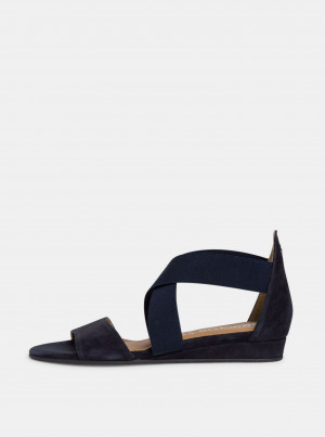 Tamaris modré semišové sandály -