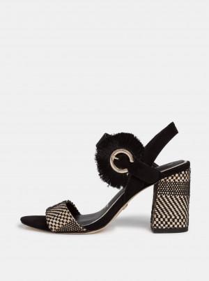 Tamaris černé semišové boty na podpatku -