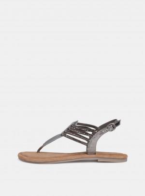 Tamaris stříbrné kožené sandály -