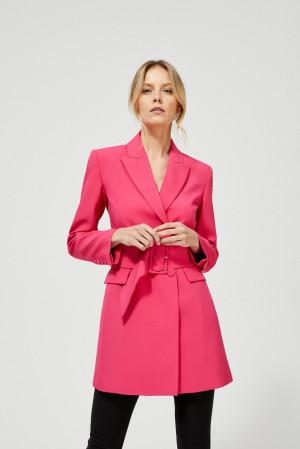 Moodo růžový dámská kabát s páskem