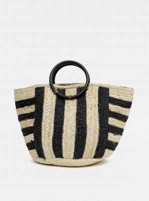 Černo-hnědá jutová taška Pieces Arilla