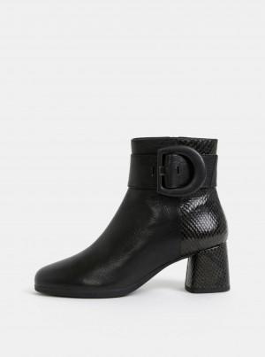 Černé dámské kožené kotníkové boty s hadím vzorem Geox Calinda -