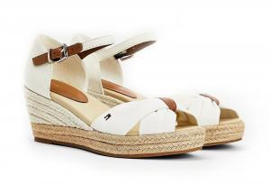 Bílé dámské sandálky na klínku Tommy Hilfiger -