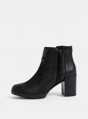 Černé dámské kožené kotníkové boty Geox Aneeka -