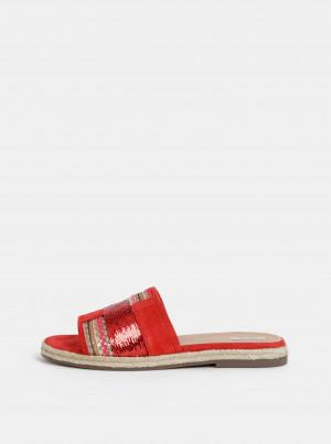 Červené dámské semišové pantofle Geox Kolleen -
