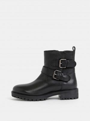 Černé dámské kožené kotníkové boty Geox Hoara -