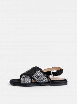Černé dámské sandály s flitry Geox Kolleen -