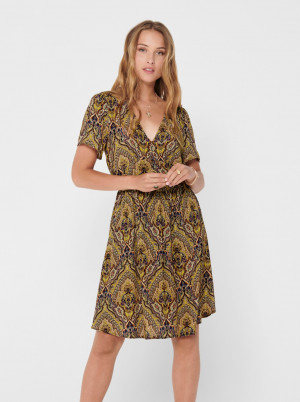 Hnědé vzorované šaty ONLY Vide