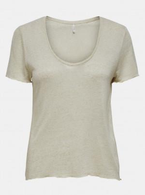 Béžové lněné tričko ONLY Mirinda