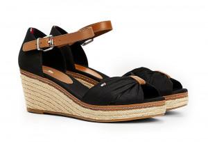 Černé dámské sandálky na klínku Tommy Hilfiger -