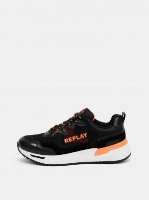 Černé pánské tenisky s koženými detaily Replay -