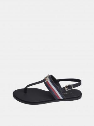 Černé dámské kožené sandály Tommy Hilfiger -