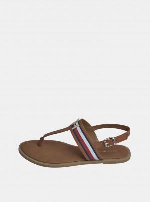 Hnědé dámské kožené sandály Tommy Hilfiger -