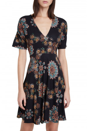 Desigual černé šaty Vest Gogo s mandalami