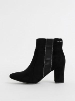 Černé dámské kotníkové boty v semišové úpravě Tom Tailor -