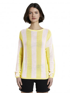 Bílo-žlutý dámský pruhovaný svetr Tom Tailor Denim