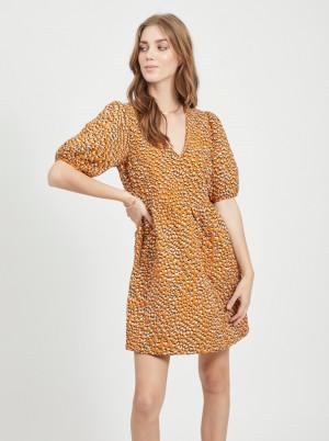Hnědé vzorované šaty VILA Lorin