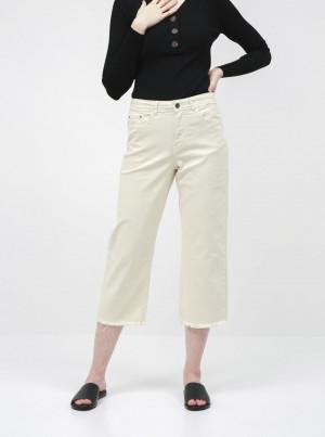 Krémové zkrácené straight fit džíny Jacqueline de Yong Tonia