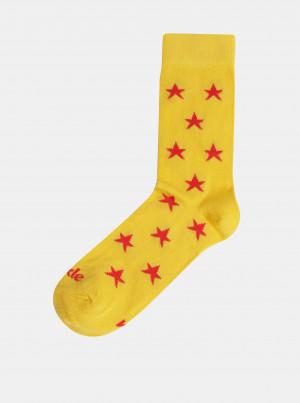 Žluté vzorované ponožky Fusakle Hviezda plážová - 39-42