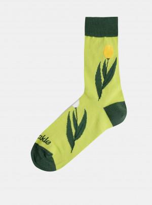 Světle zelené dámské květované ponožky Fusakle Tulipán - 35-38
