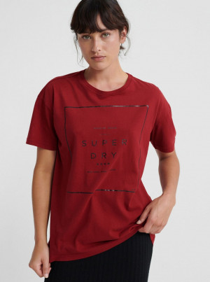 Červené dámské tričko s potiskem Superdry