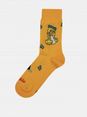 Oranžové dámské ponožky s motivem Víly Amálky Fusakle - 39-42