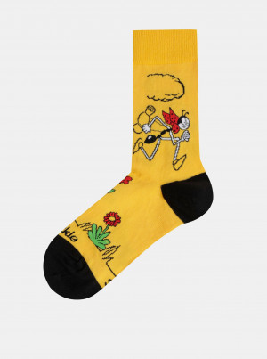 Hořčicové vzorované ponožky Fusakle Ferda Mravenec - 39-42