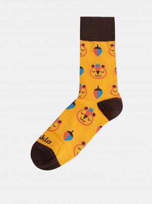 Žluté vzorované ponožky Fusakle Brum - 39-42