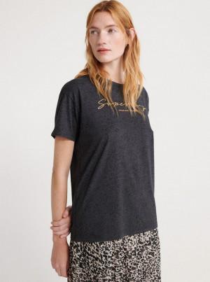 Tmavě šedé dámské tričko s potiskem Superdry