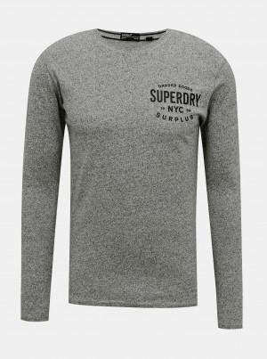 Šedé pánské tričko s lampasem Superdry