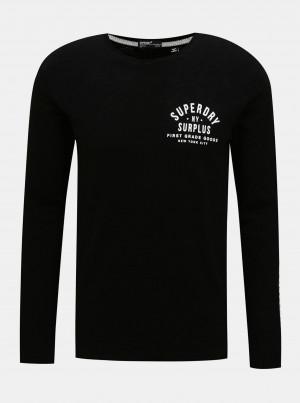 Černé pánské tričko s lampasem Superdry