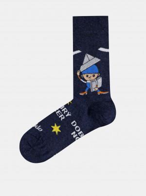 Tmavě modré vzorované ponožky Fusakle Večerníček - 35-38