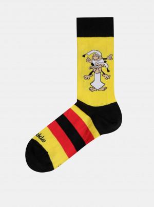 Žluté vzorované ponožky Fusakle Křemílek a Vochomůrka - 43-46