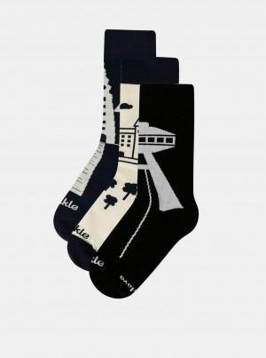 Sada tří párů ponožek v krémovo-modré barvě Fusakle Bratislava - 35-38