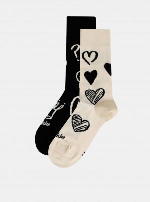 Krémovo-černé vzorované ponožky Fusakle Symbol - 43-46