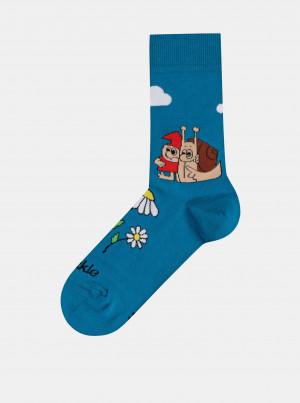 Tyrkysové vzorované ponožky Fusakle Matěj a skřítek - 35-38