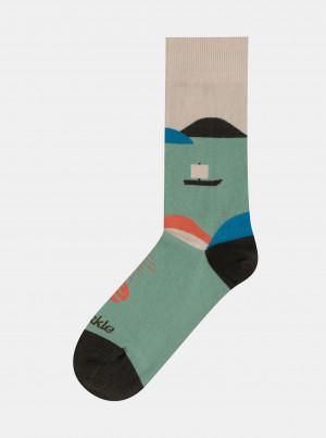Zelené vzorované ponožky Fusakle Na přehradě - 35-38
