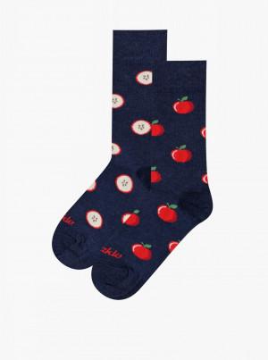 Tmavě modré vzorované ponožky Fusakle Jablko - 43-46